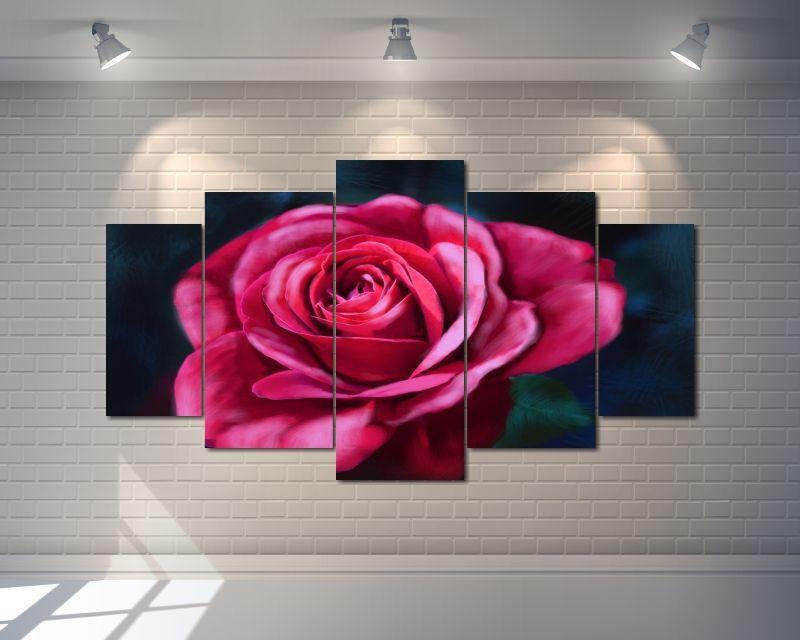 Quadro Decorativo Rosa Estilo Pintura 5 peças