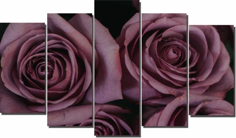 Quadro Decorativo Rosa para Sala 5 peças
