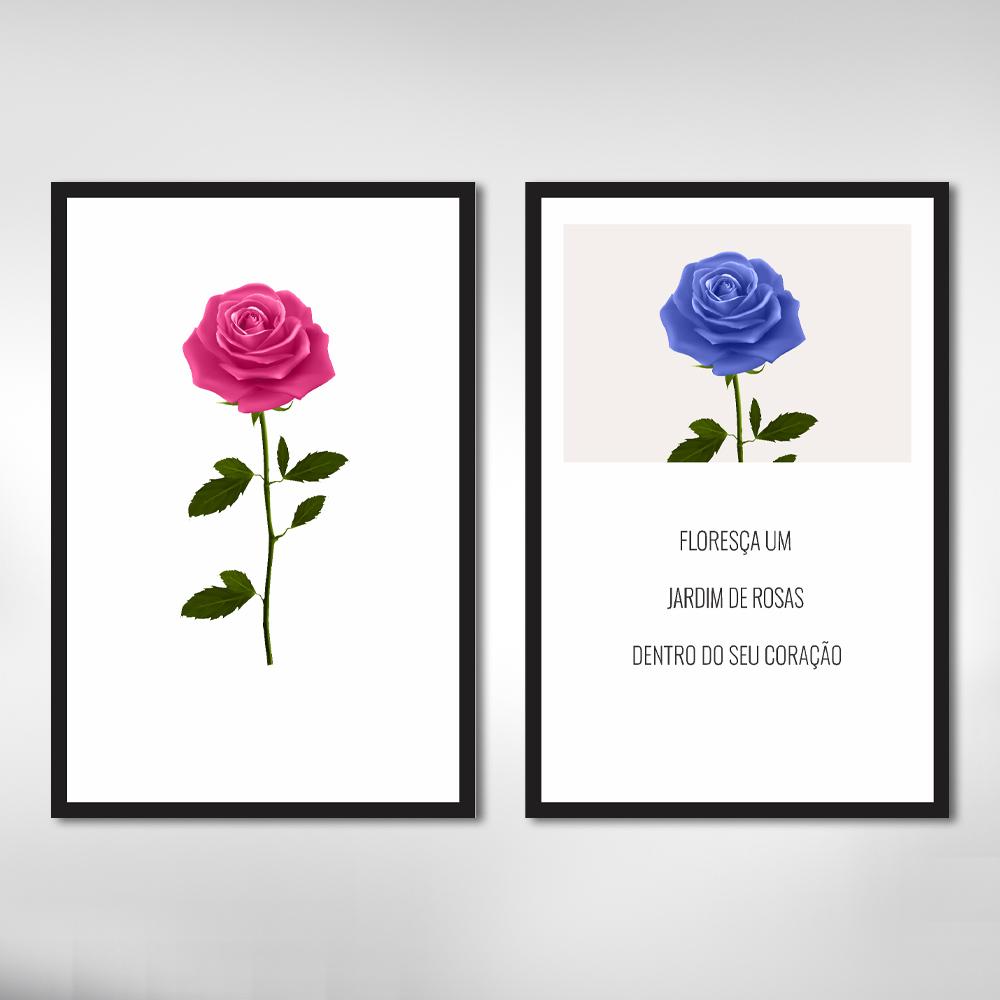 Quadro Decorativo Rosas e Frases