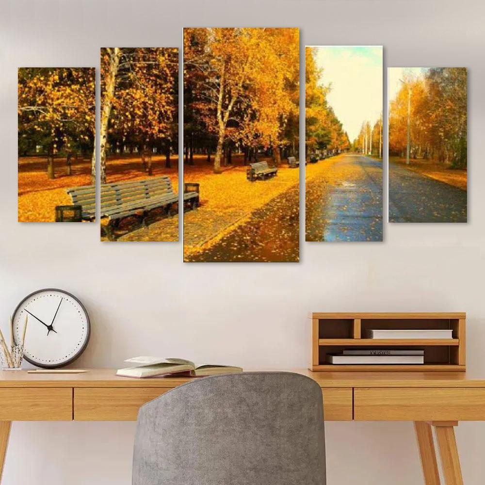 Quadro decorativo sala 5 peças paisagem bosque