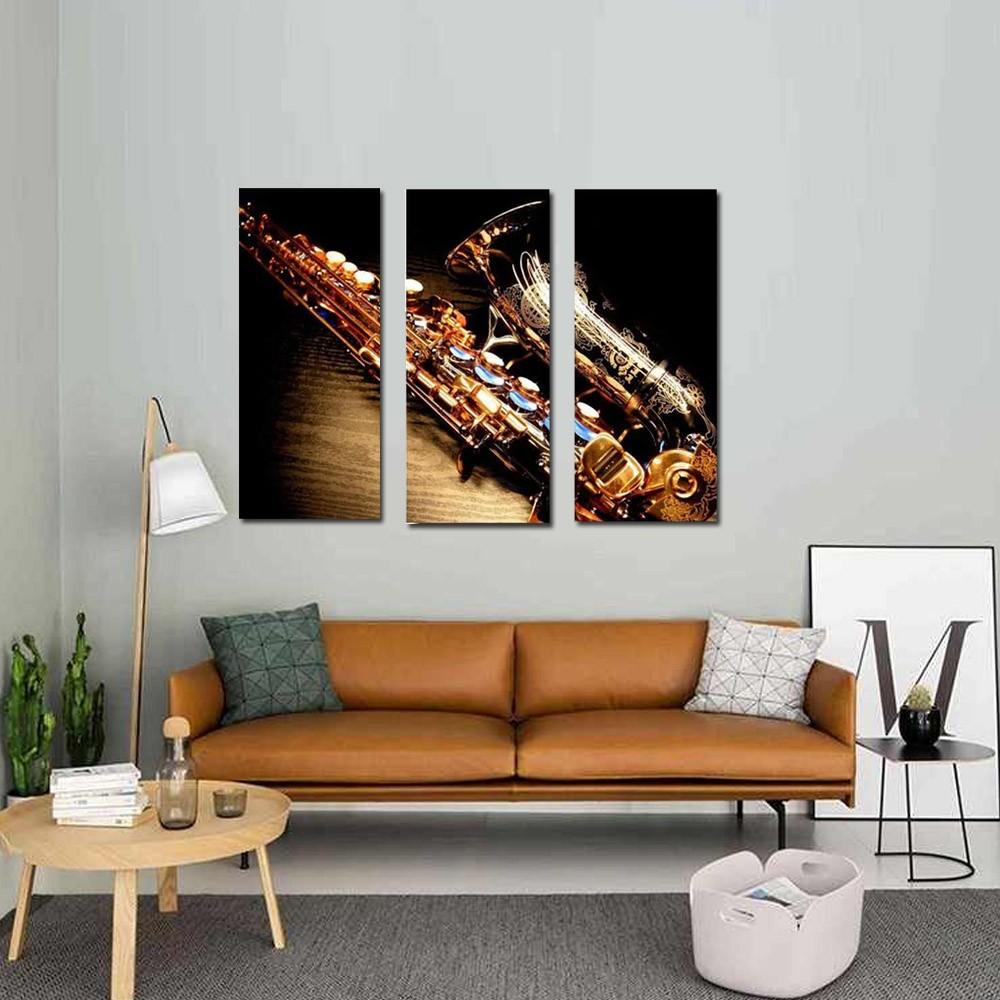Quadro Decorativo Saxofone 3 Peças Para Sala