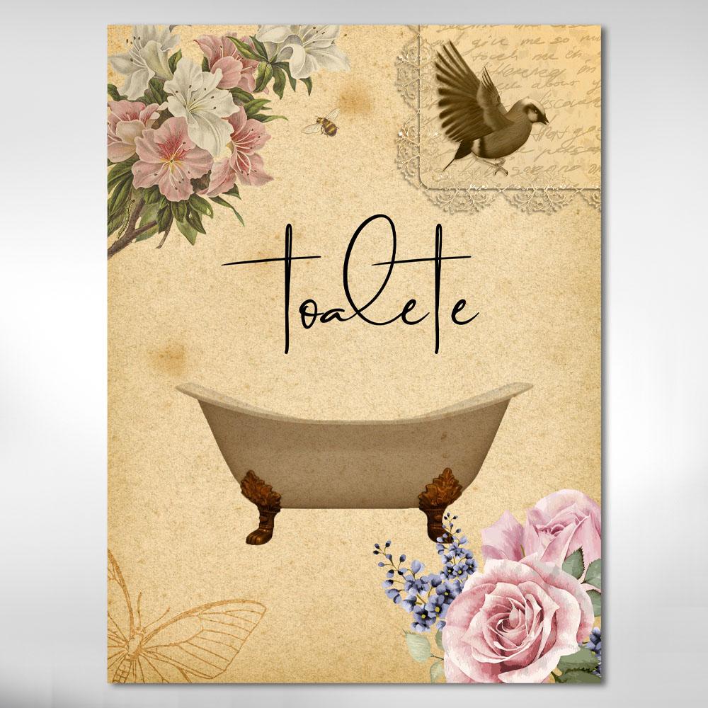 Quadro Decorativo Banheira Para Banheiro Vintage