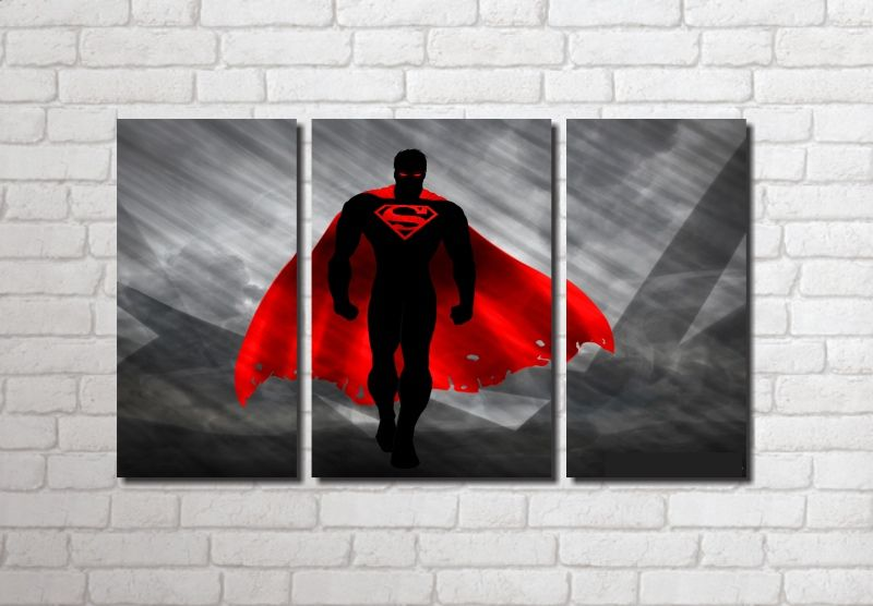 Quadro Decorativo Super Homem 3 peças