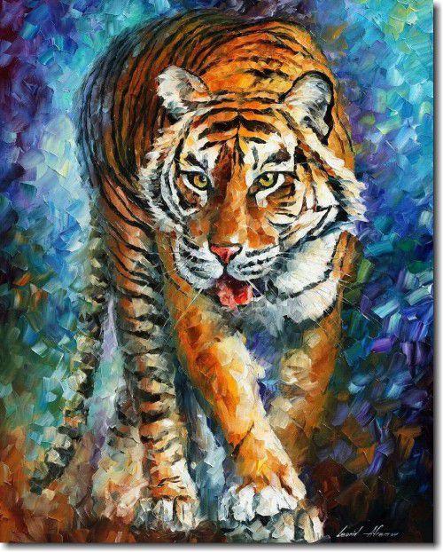 Quadro Decorativo Tigre Espatulado 1 peça