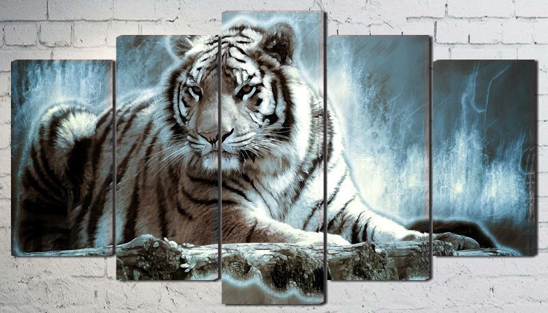 Quadro Decorativo Tigre Branco Savana Na Noite Para Sala
