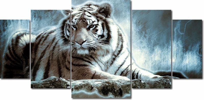 Quadro Decorativo Tigre  na noite Para Sala 5 peças