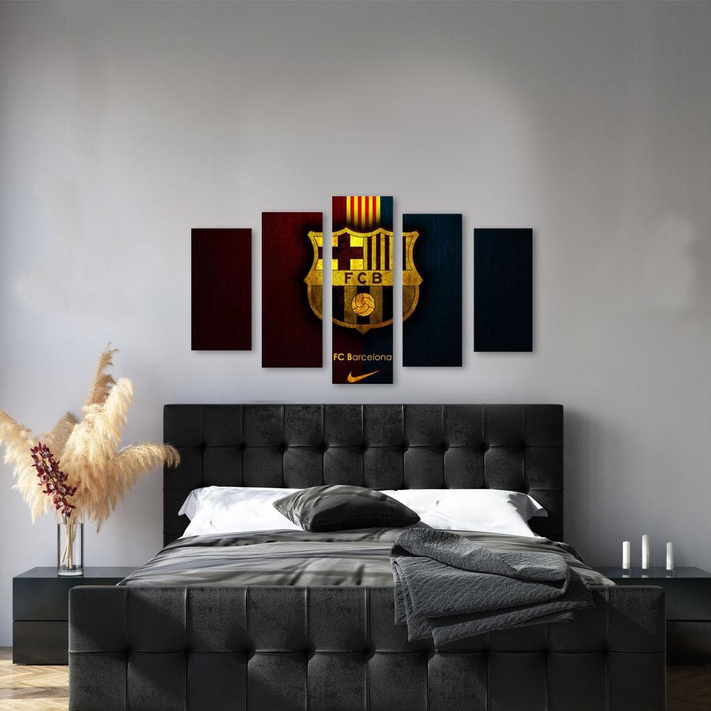 Quadro Decorativo Time Futebol Barcelona  5 Peças