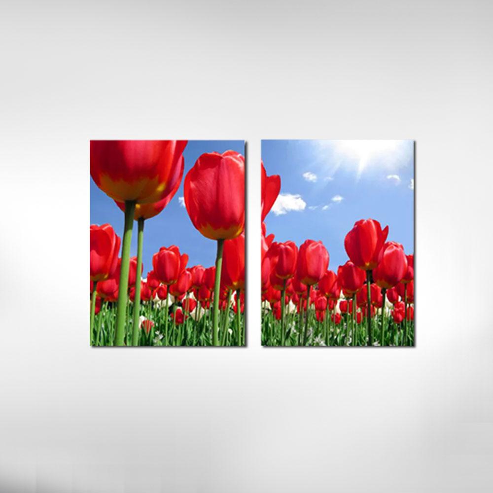 Quadro Decorativo Tulipas Vermelhas 2 Peças Para Sala