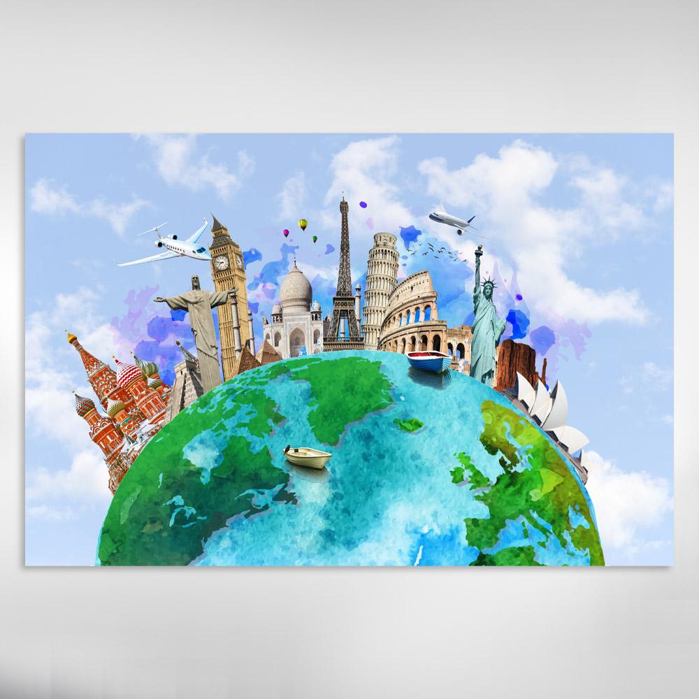 Quadro Decorativo Viagem ao Mundo