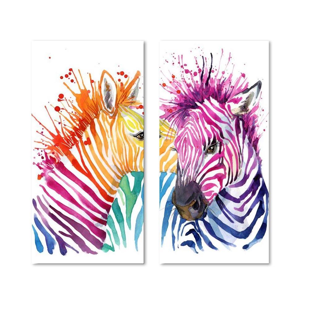 Quadro Decorativo Zebra 2 Peças Para Sala