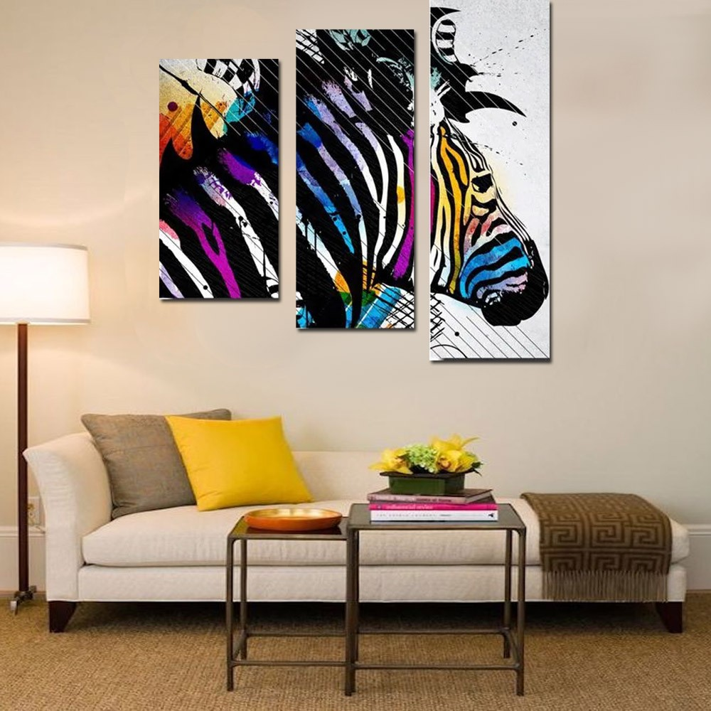 Quadro Decorativo Zebra 3 Peças Para Sala