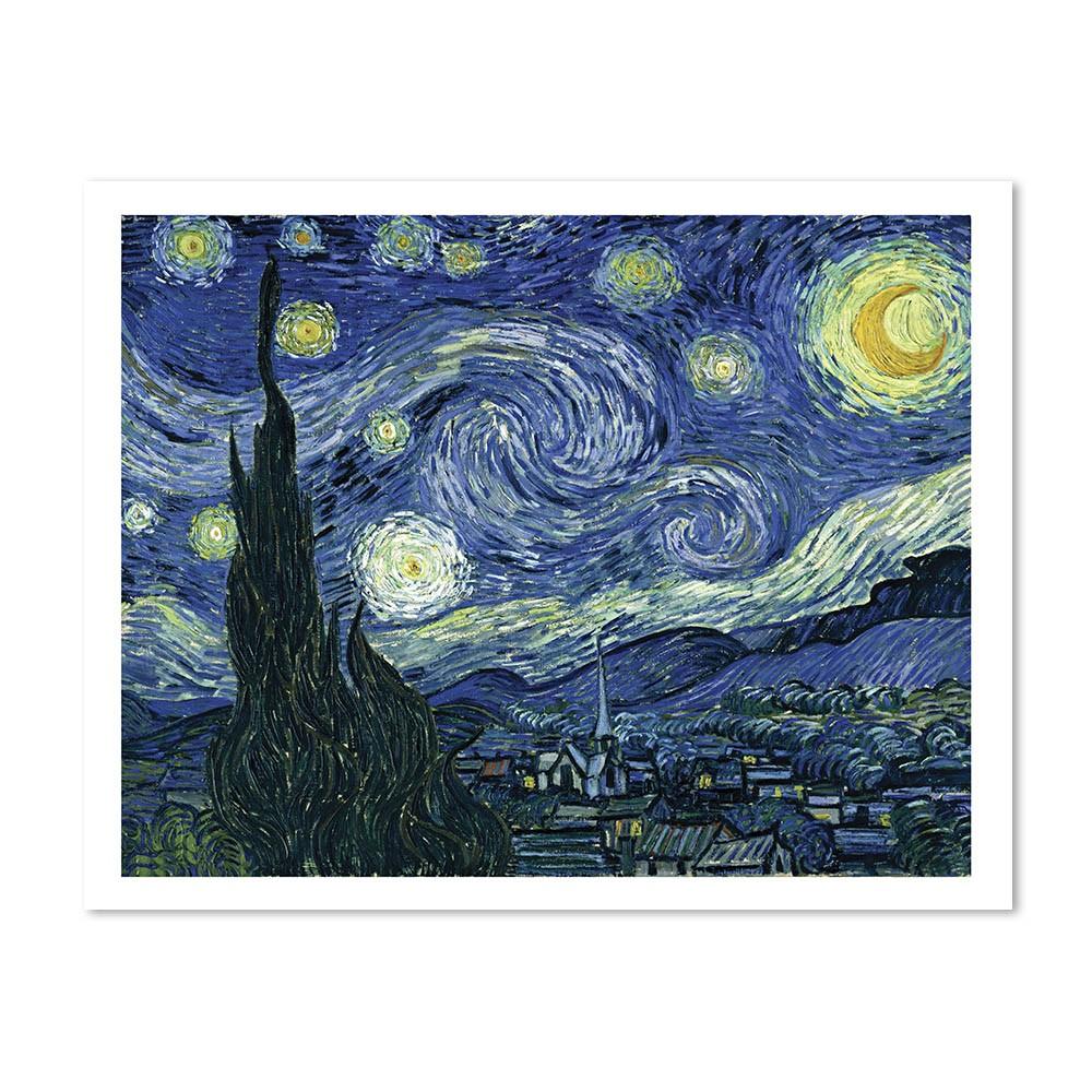 Quadro Decorativos A Noite Estrelada Van Gogh  com borda