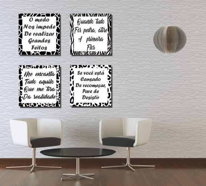 Quadro Decorativos Kit de frases Zebra 4 peças