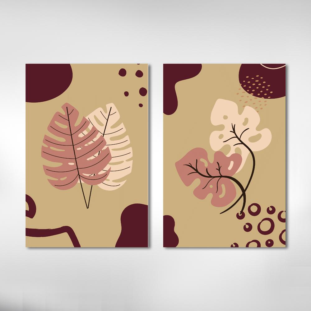 Kit Quadros Decorativos Minimalista Folhagem Em Tons Bordo