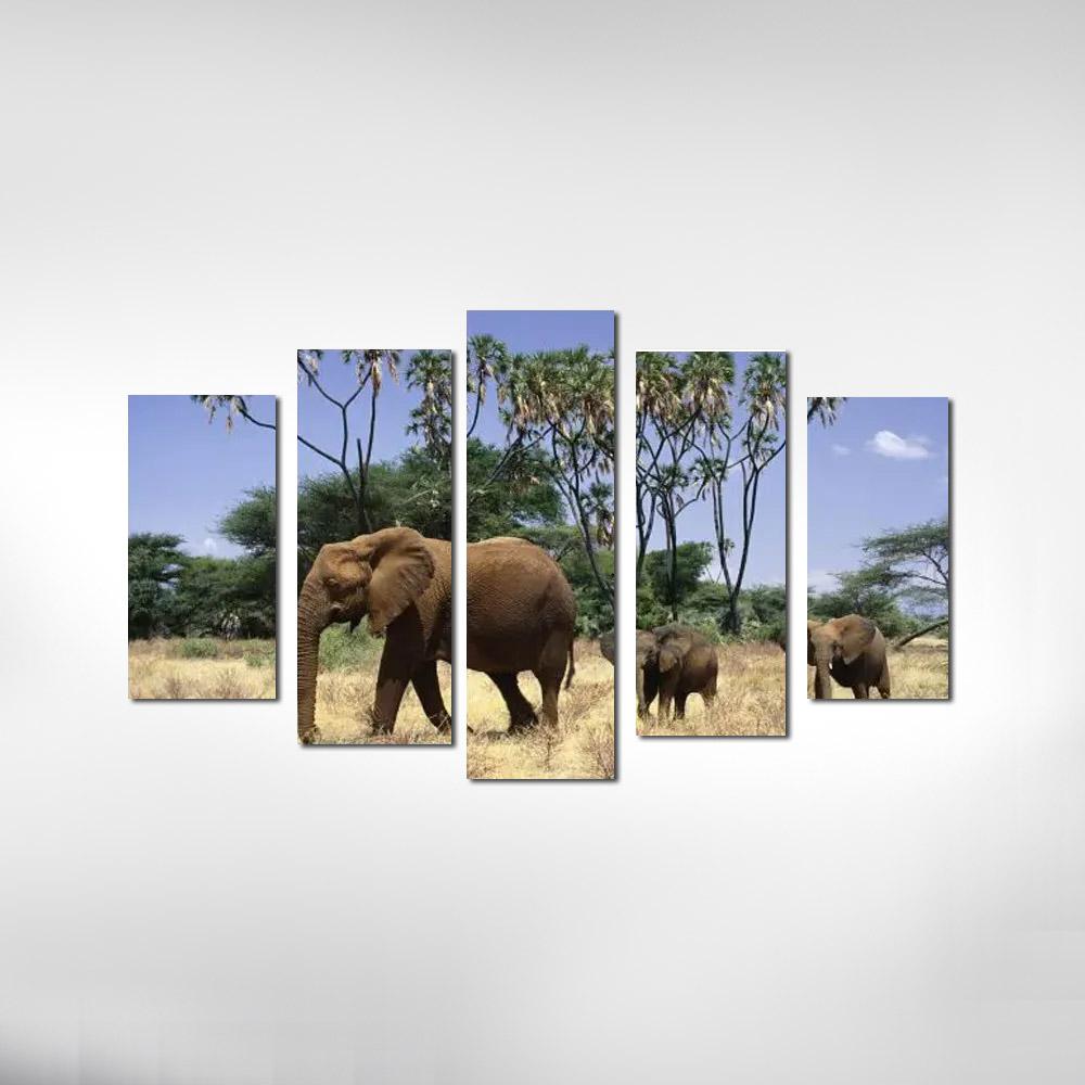 Quadro Elefante com 2 Filhotes Para Decoração