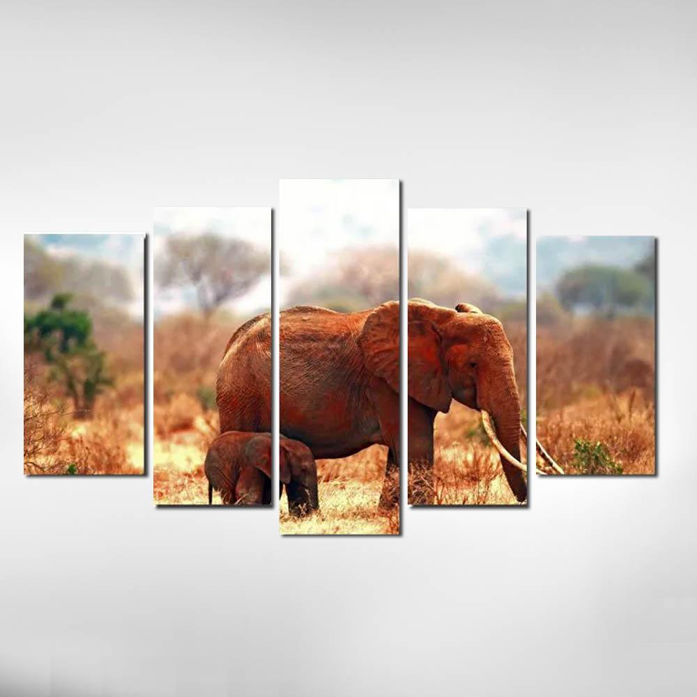 Quadro Elefante com Filhote em Tons de Marrons para Decoração