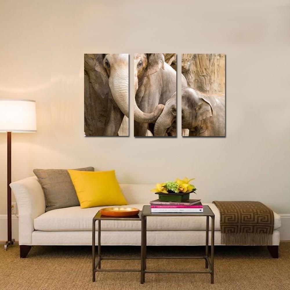 quadro Elefante com filhote   kit 3 peças