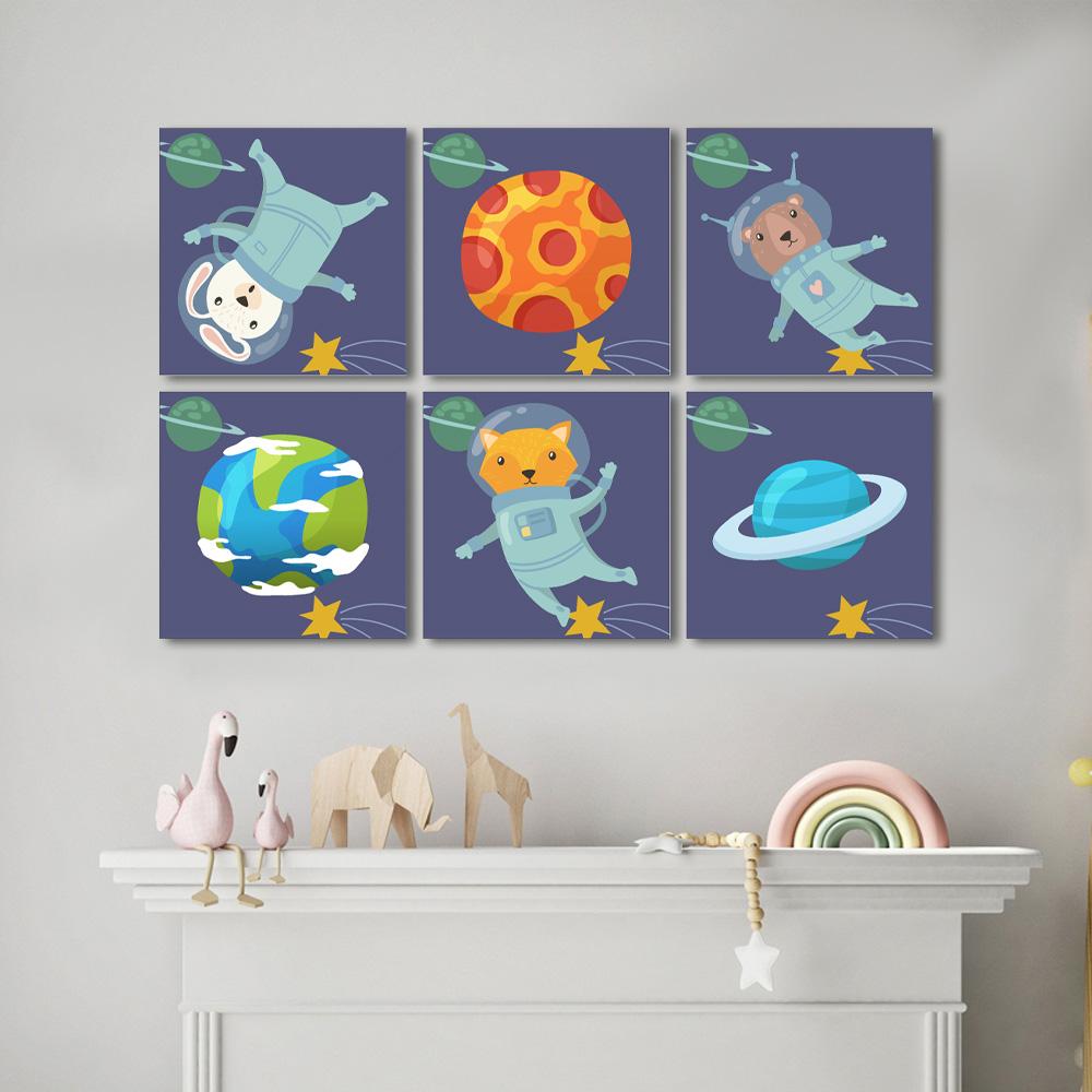 Quadro Infantil   Animais Astronautas no Espaço