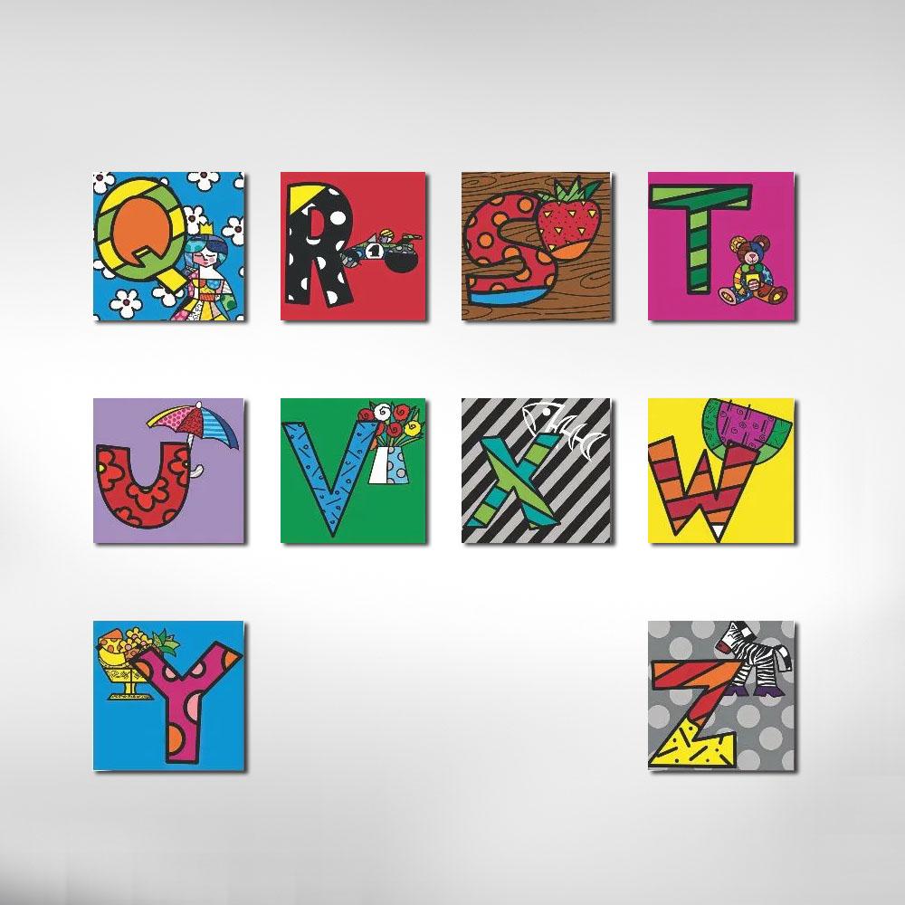 Quadro Letras Romero Britto Infantil Kit 6 Letras