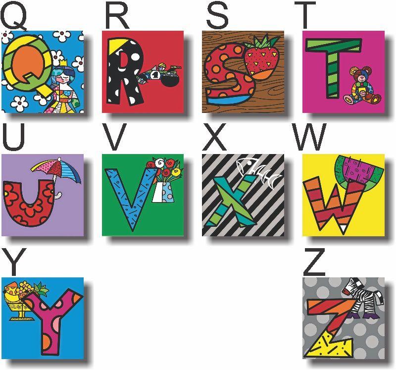 Quadro Letras Romero Britto Infantil Kit 6 Letras Menino