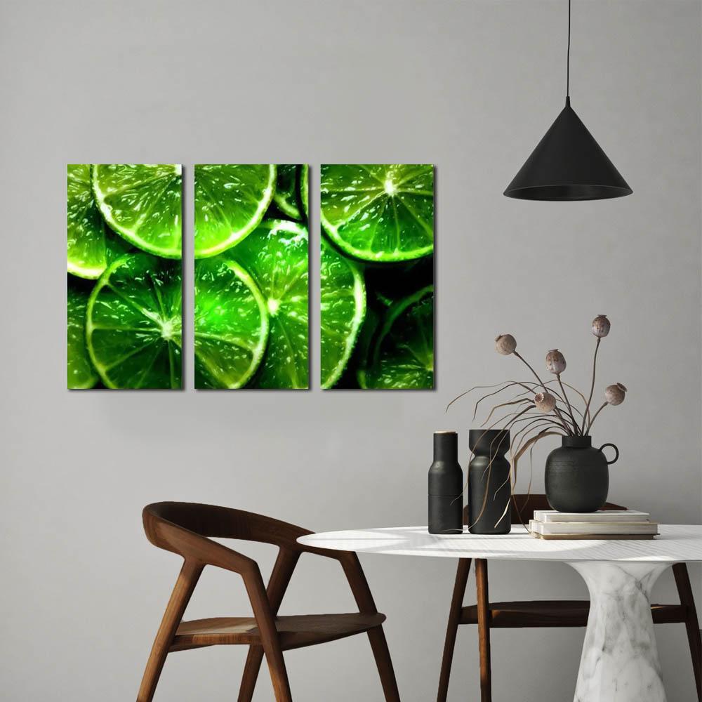 Quadro limão verde decorativo kit 3 peças