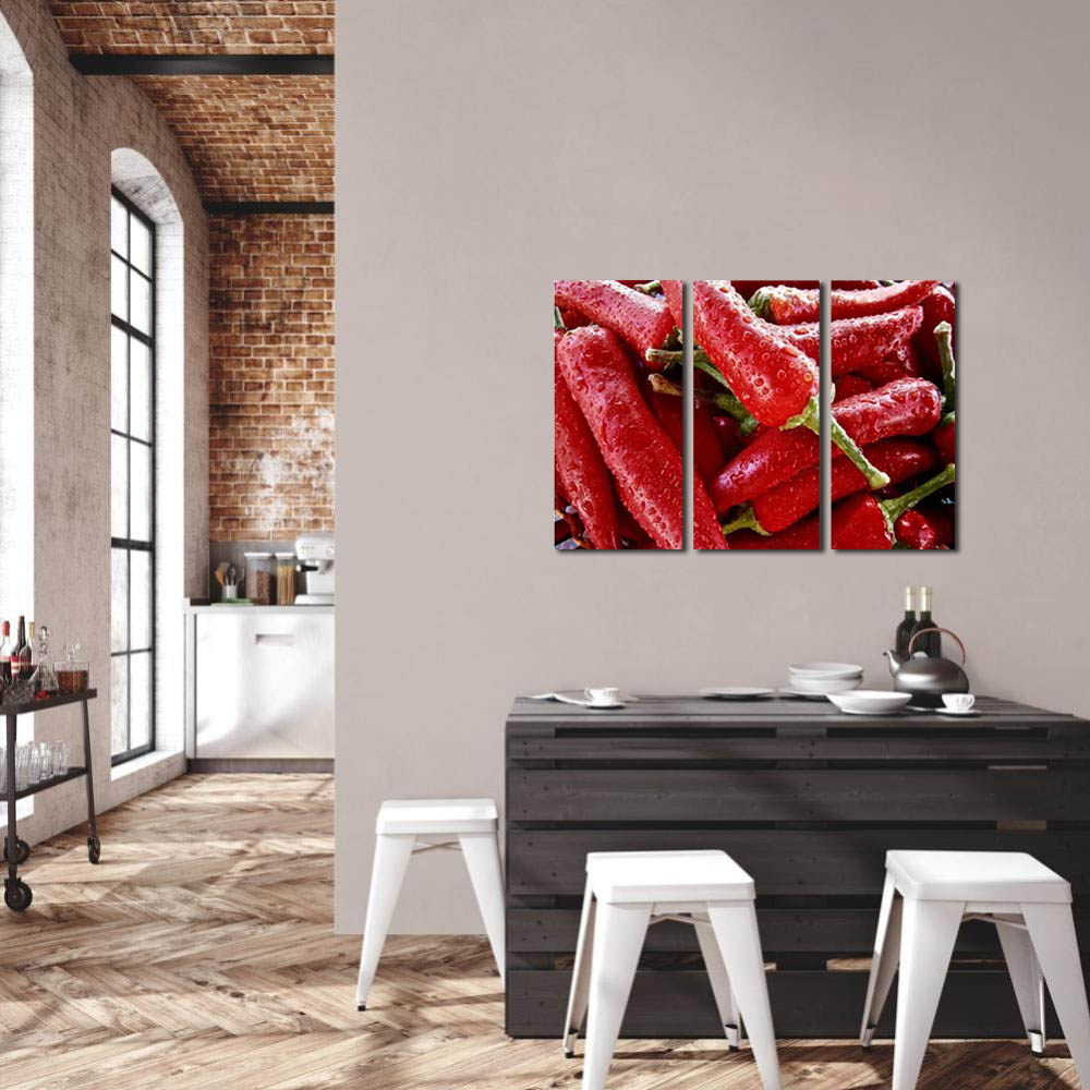 Quadro Pimentas vermelhas decorativo kit 3 peças