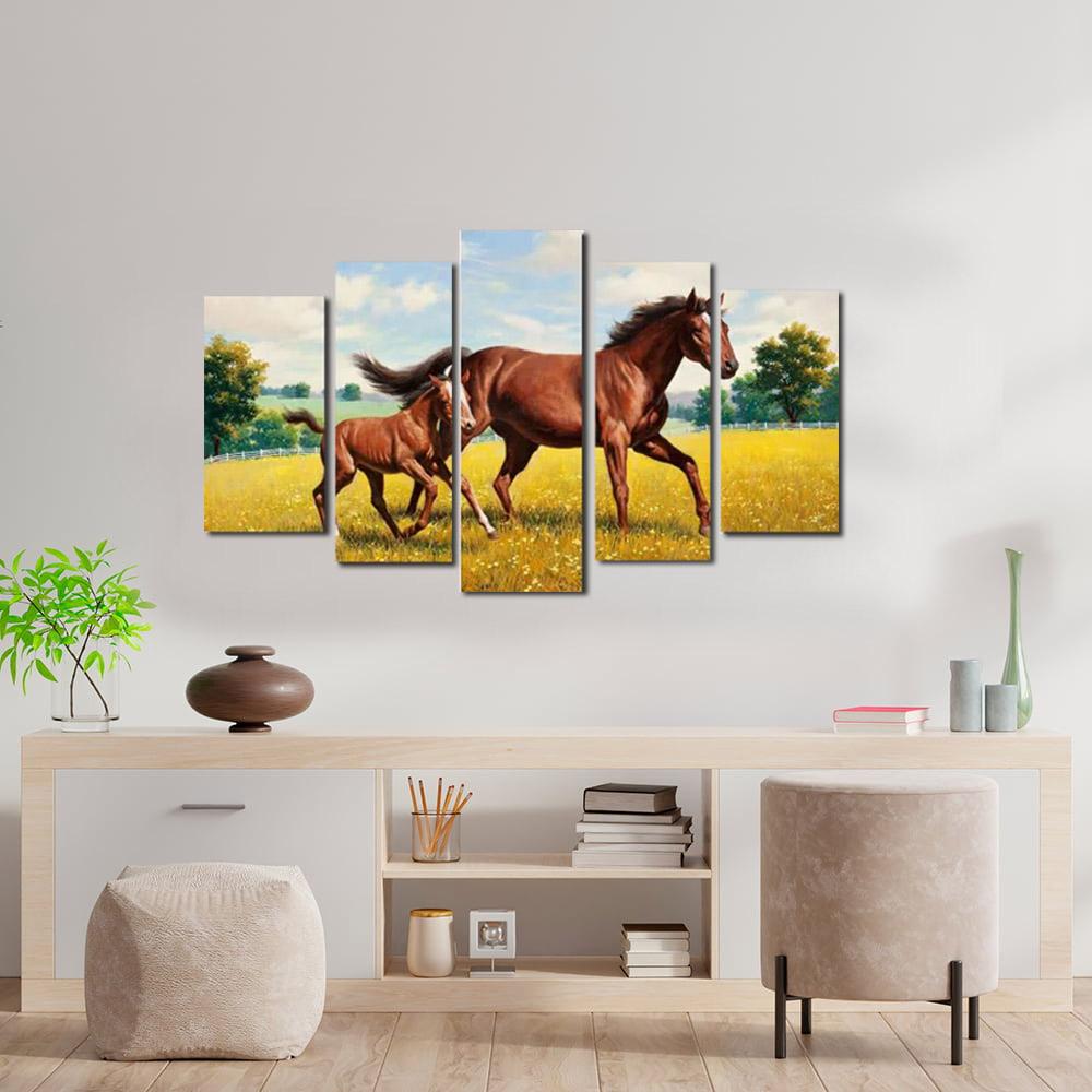 Quadros Cavalo Com Filhote  Para Decoração kit 5 peças