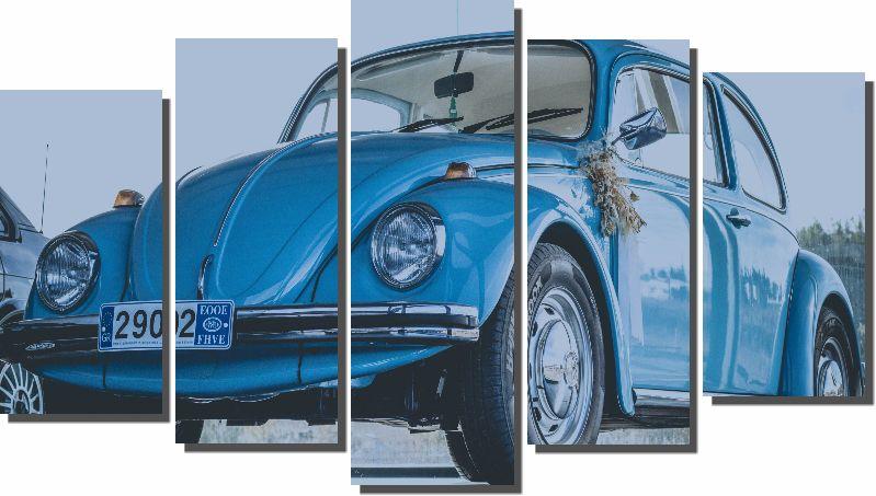 Quadros Decorativo Fusca Azul para Sala 5 peças