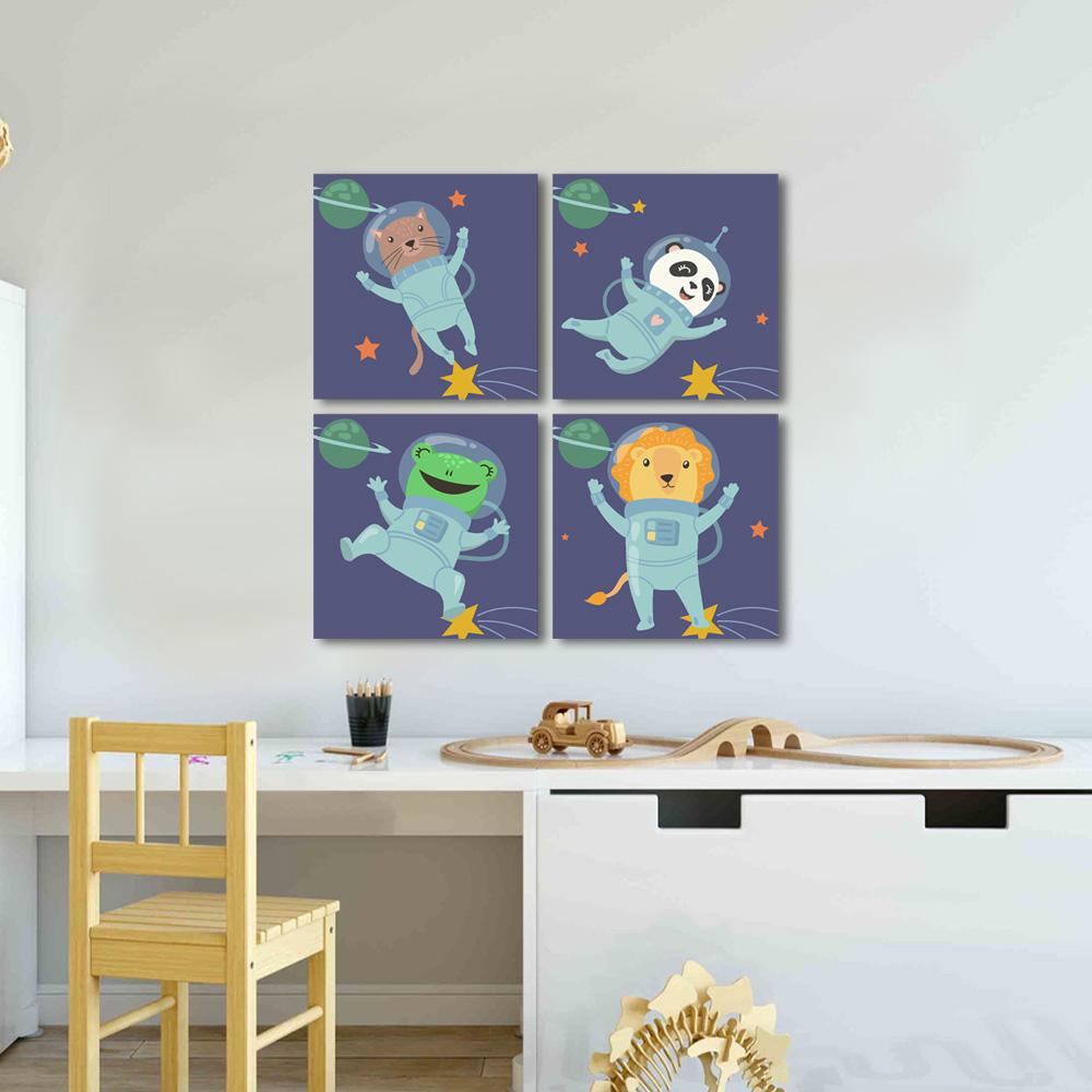 Quadros Decorativo Infantil Animais Astronautas no Espaço