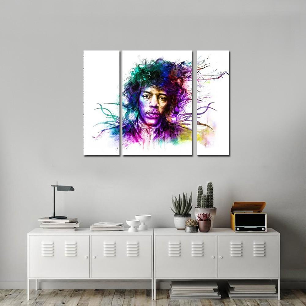 Quadros Decorativo Jimi Hendrix  colorido