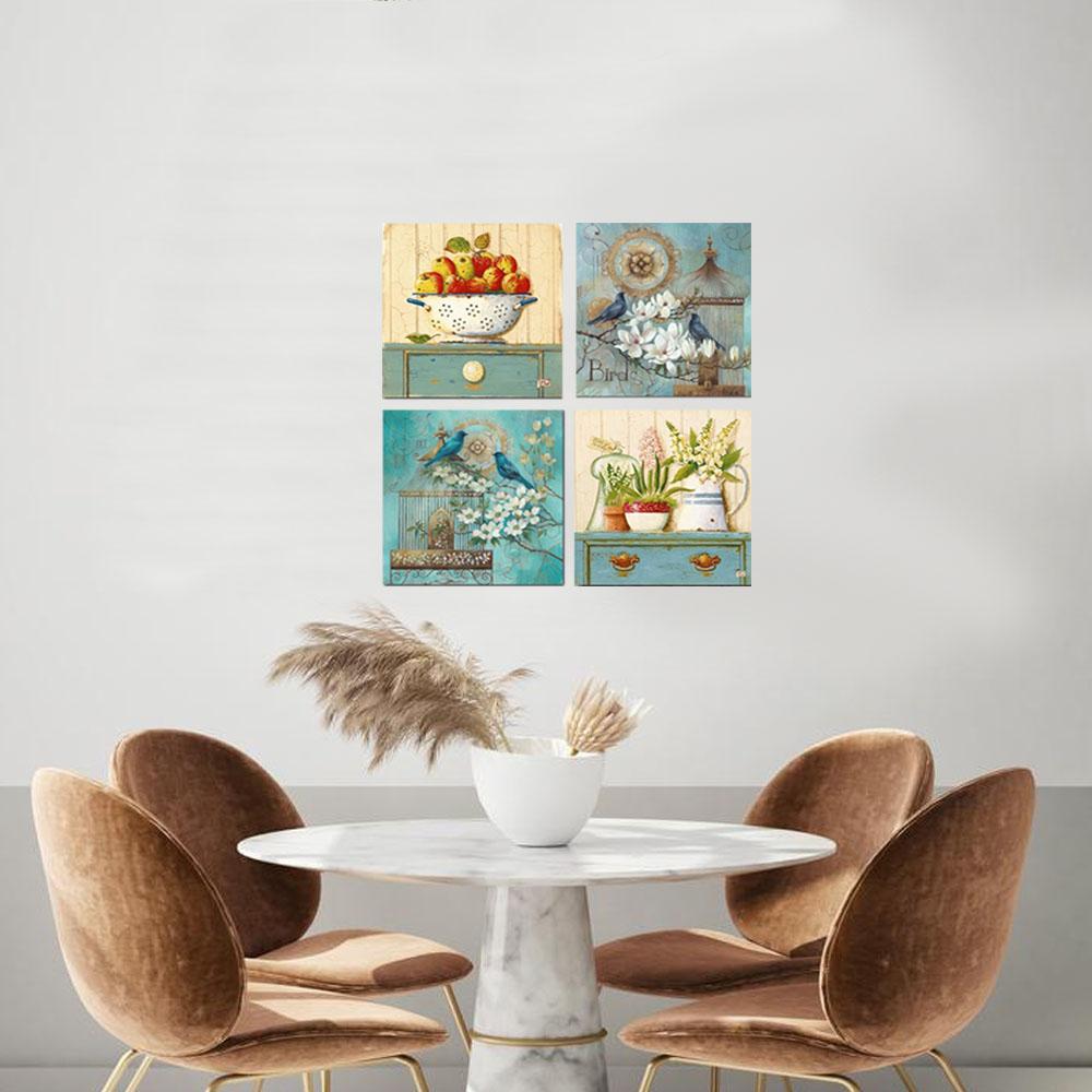 Quadros Decorativo Vintage Cozinha Flores Kit 4 Quadros