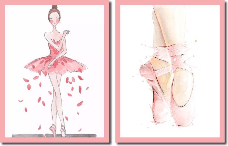 Quadros Decorativos Bailarina e Sapatilha 2 peças