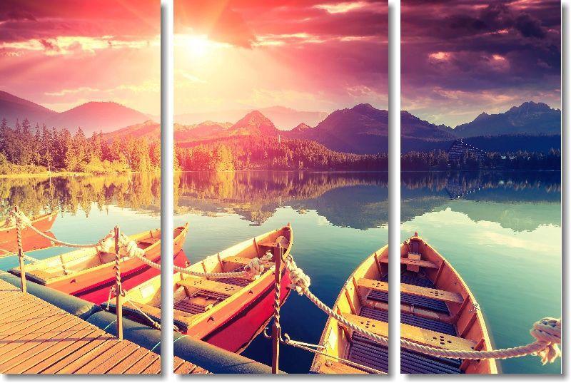 Quadros Decorativos Barcos para Sala 3 peças