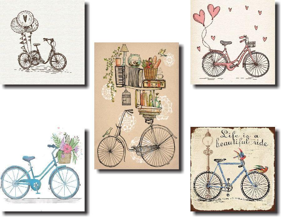 Quadros Decorativos Bicicleta 5 peças