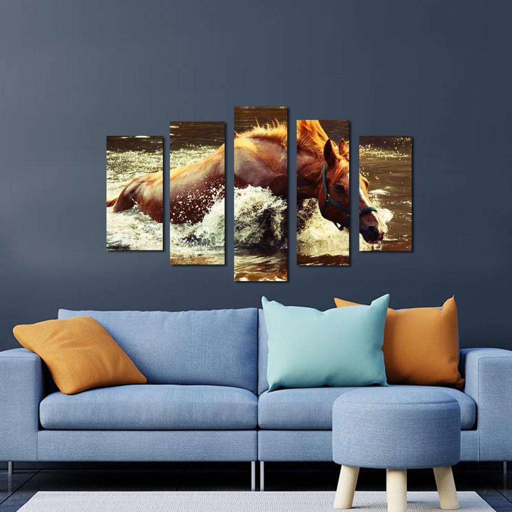 Quadros Decorativos Cavalo na Agua   para decoração kit 5 peças