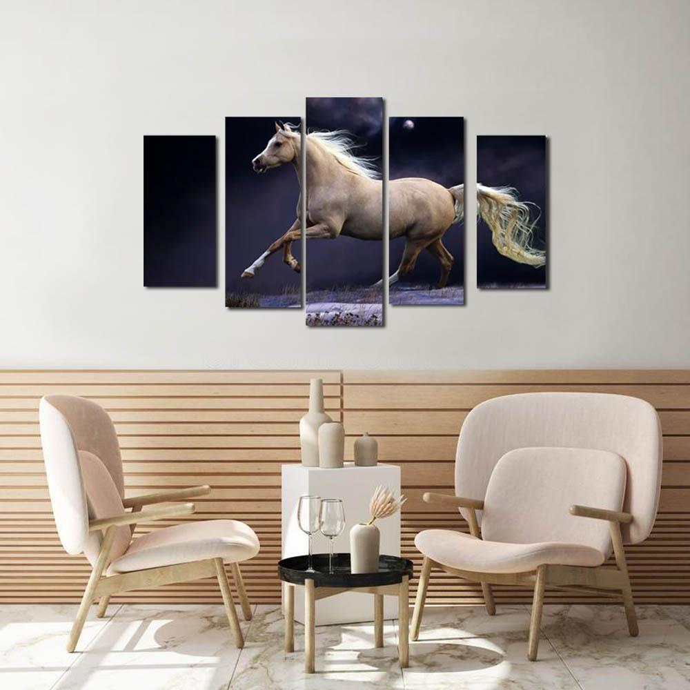 Quadros Decorativos  Cavalo na Noite  para decoração kit 5 peças
