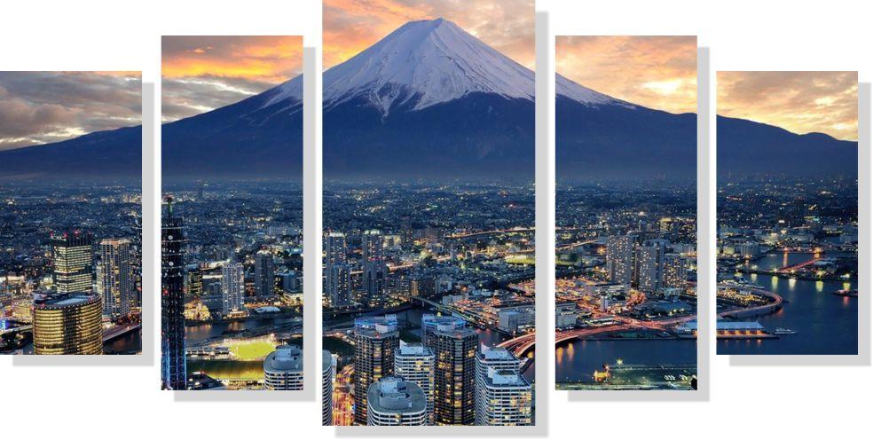 Quadros Decorativos Cidade de Japan para Sala 5 peças