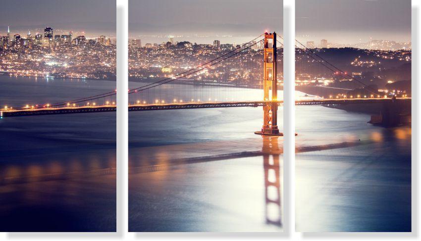 Quadros Decorativos Cidade de San Francisco 3 peças