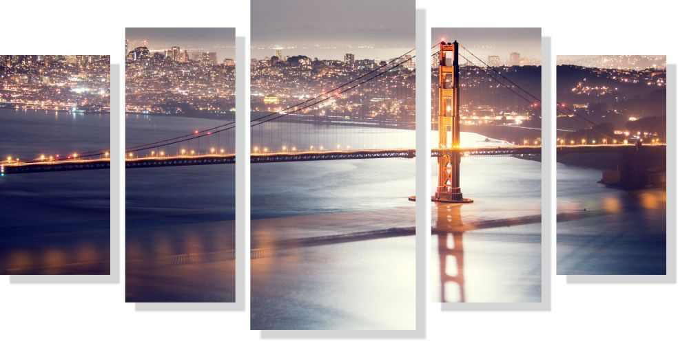 Quadros Decorativos Cidade de San Francisco 5 peças