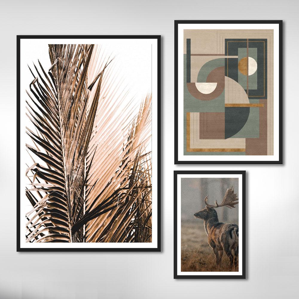 Quadros Decorativos Folhagem Geométrico em Tons de Marrom