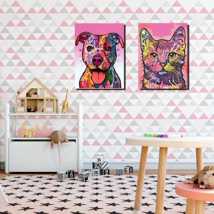 Quadros Decorativos Gato e Pitbull Moderno 2 peças