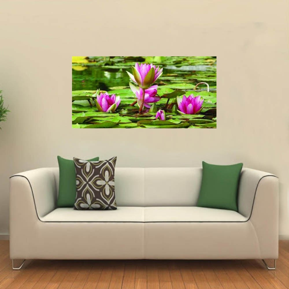 Quadro Decorativo Flor De Lotus Na Agua
