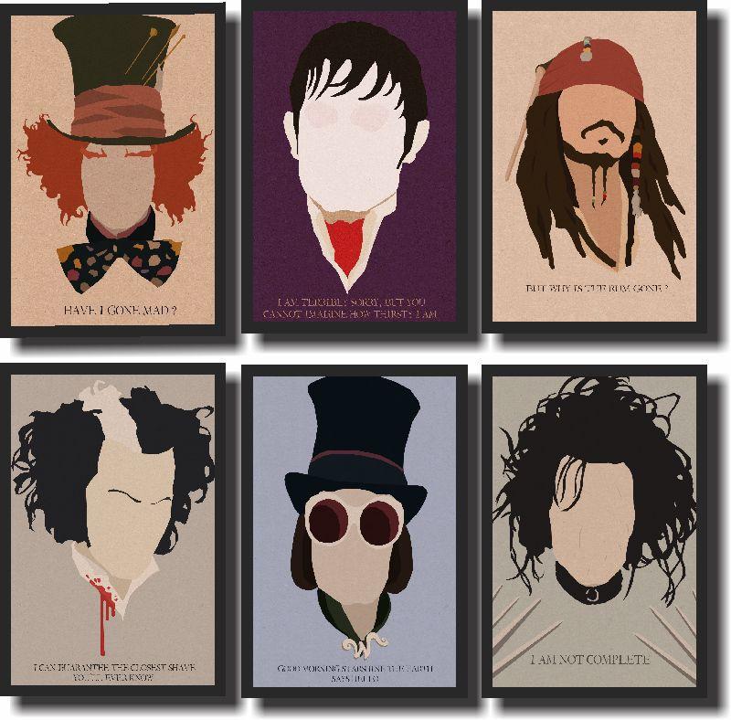 Quadros Decorativos Johnny Depp 6 peças
