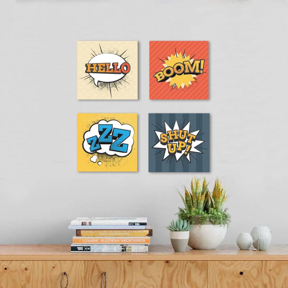 Quadros decorativos kit 4 peças geek nerd quarto adolescente