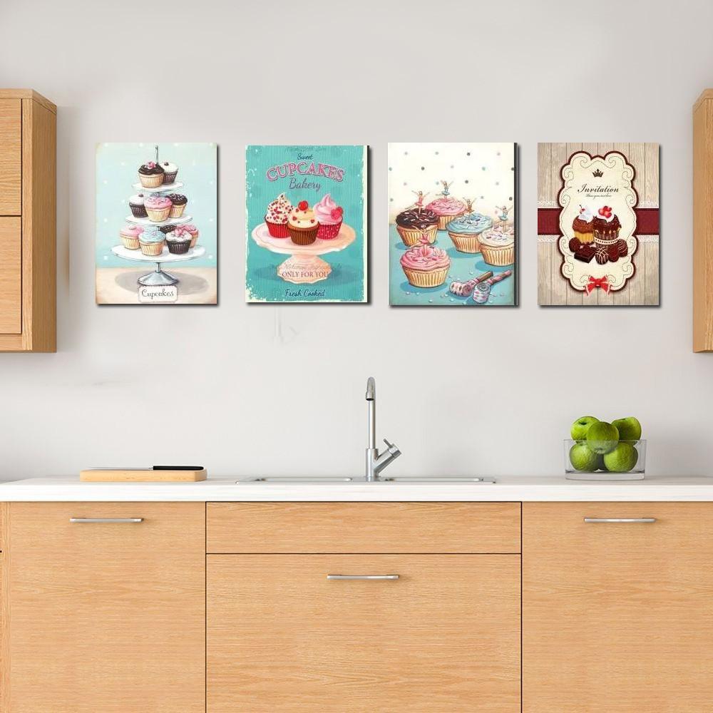 Quadros Decorativos Kit Cupcake Para Cozinha Casa