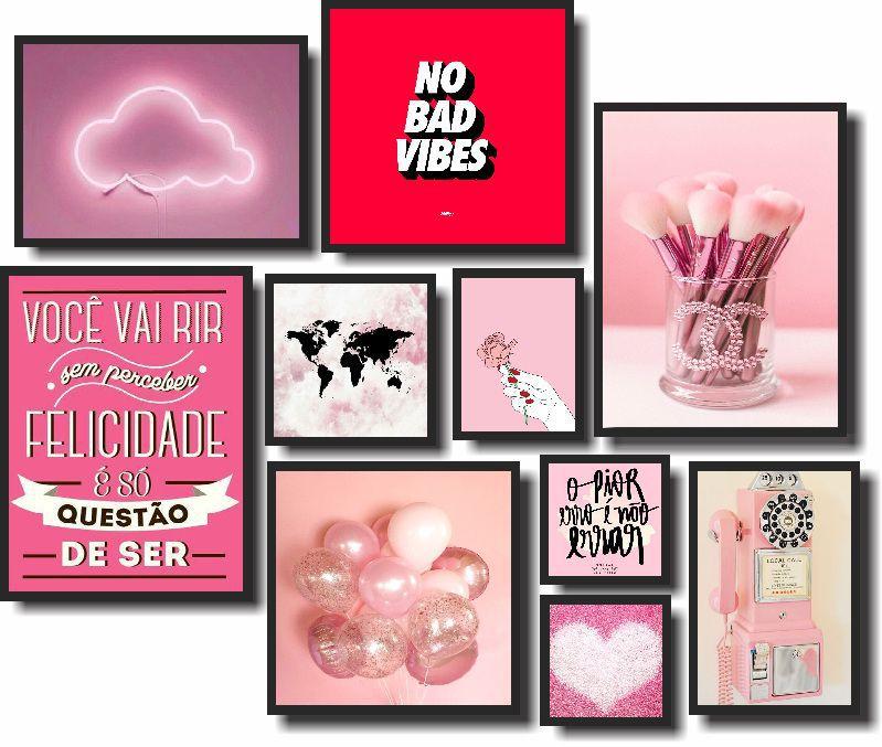 Quadros Decorativos Kit Love Pink 10 peças