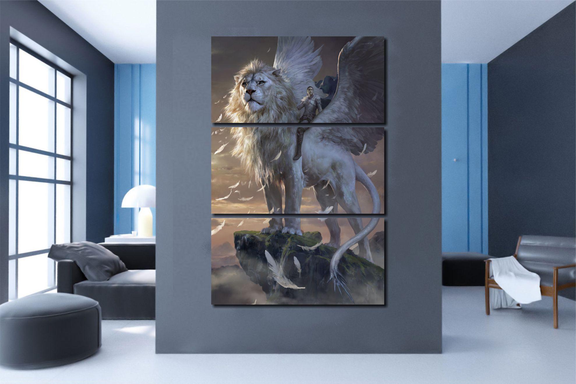 Quadros Decorativos Leão Alado para Sala 3 peças