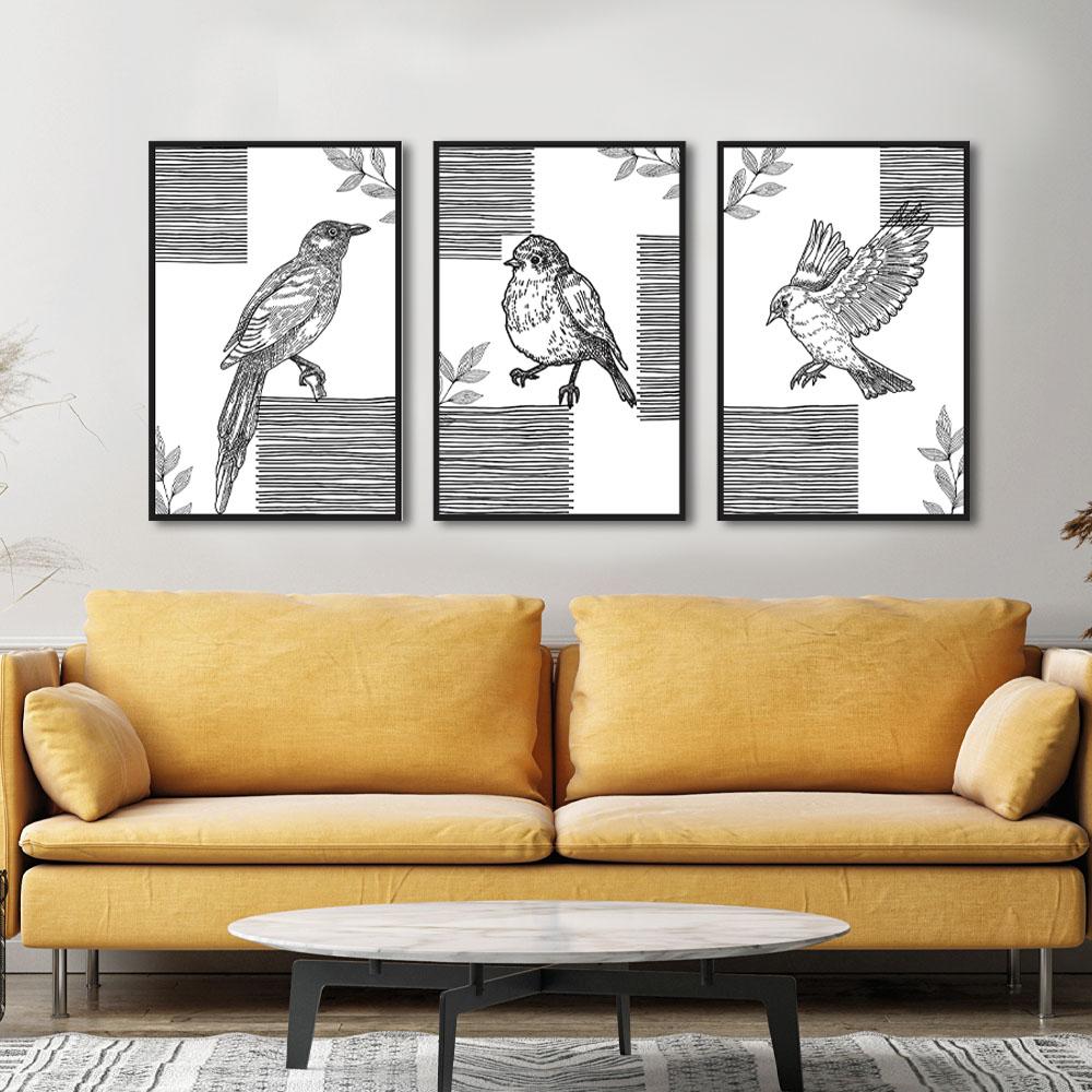 Quadros Decorativos Line Art Pássaros