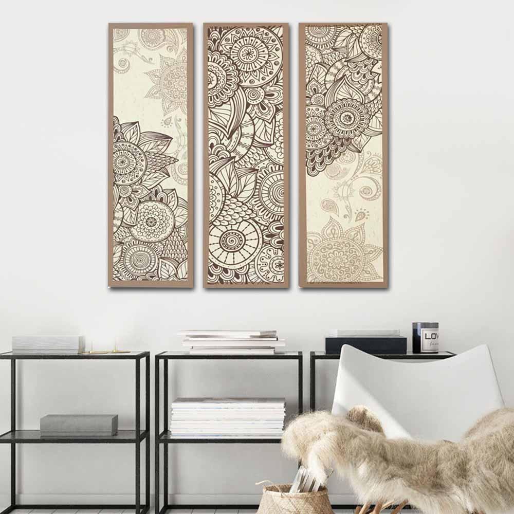 Quadros Decorativos Mandala Bege  3 Peças Para Sala