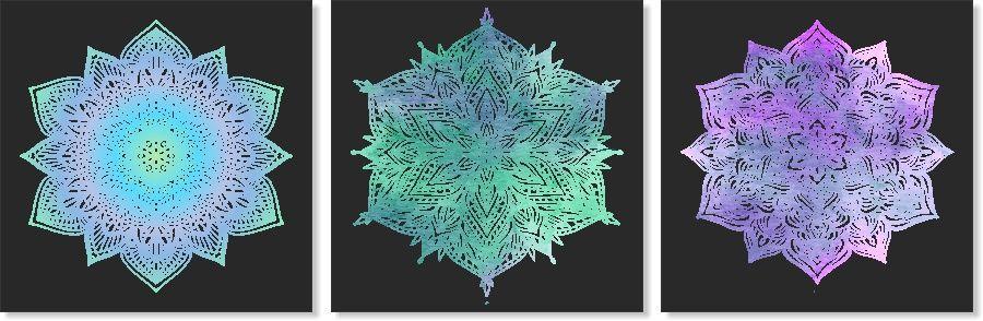 Quadros Decorativos Mandala para Sala 3 peças